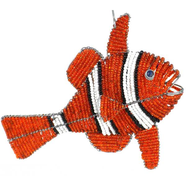 Handmade Beaded Clown Fish Hanging Figurine (Zimbabwe)