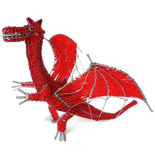 Handmade Large Beaded Dragon Sculpture (Zimbabwe)
