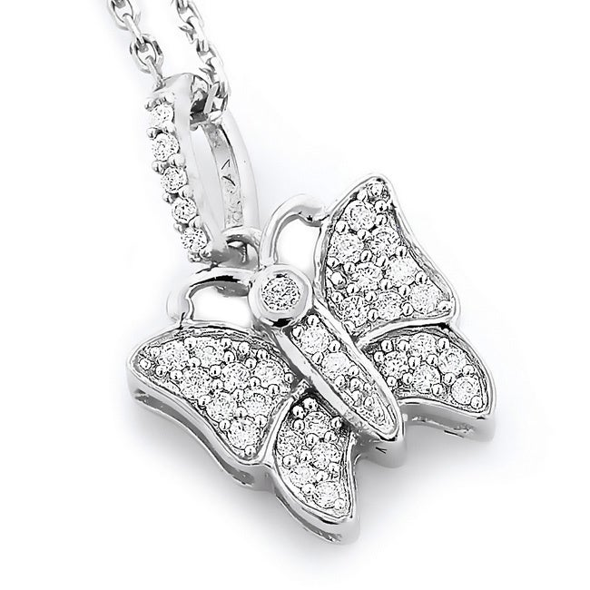 Overstock.com 14k White Gold 1/5ct TDW Diamond Butterfly Pendant Necklace