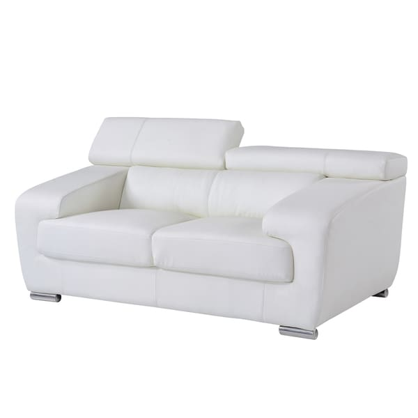White Functional Headrest Loveseat