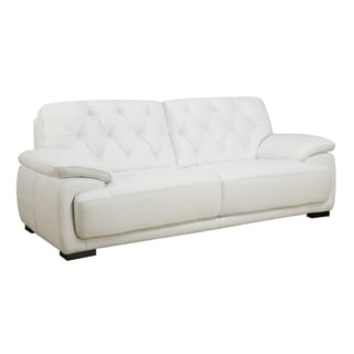 White Full Leather Sofa
