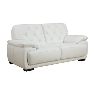 White Full Leather Loveseat