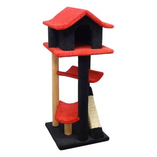New Cat Condos Solid Wood Cat Pagoda (Red/Black)