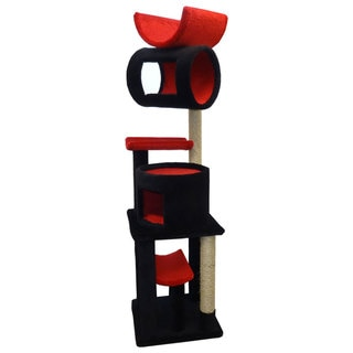 New Cat Condos Solid Wood Cat Play Station (Red/Black)
