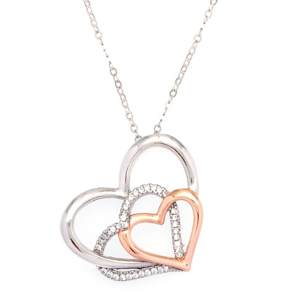 La Preciosa Sterling Silver and Rose Goldplated Triple Heart Cubic Zirconia Pendant Necklace