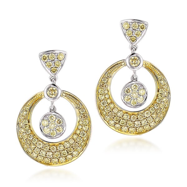 Luxurman 14k Two-tone Gold 1 1/3ct Yellow Diamond Drop Earrings (SI1-SI2)