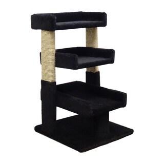 New Cat Condos Solid Wood Triple Cat Perch (Black)