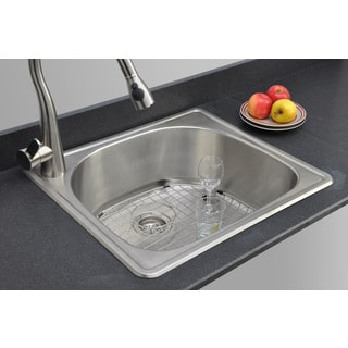 Wells Sinkware 18-gauge D-shape Single Bowl Topmount Stainless Steel Kitchen Sink Package
