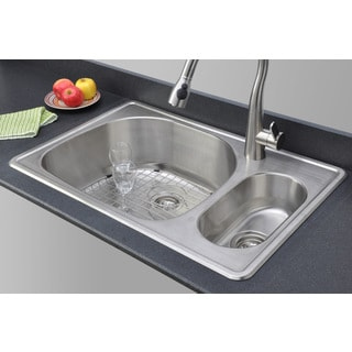 Wells Sinkware 33-inch Topmount 80/20 Double Bowl 18-gauge Stainless Steel Kitchen Sink Package