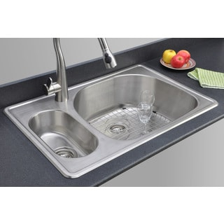 Wells Sinkware 33-inch Topmount 20/80 Double Bowl 18-gauge Stainless Steel Kitchen Sink Package