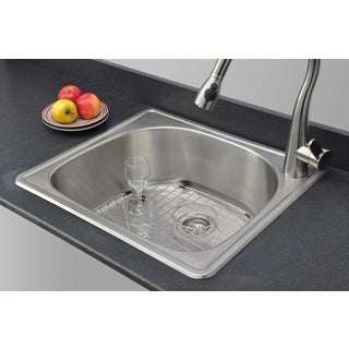 Wells Sinkware 18-gauge 25-inch D-shape Single Bowl Topmount Stainless Steel Kitchen Sink Package