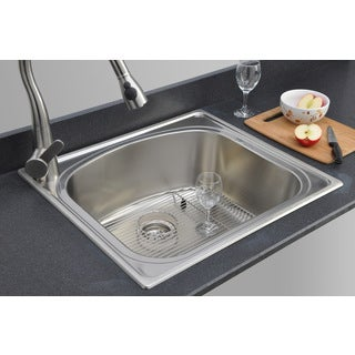 Wells Sinkware 18-gauge Single Bowl Topmount Stainless Steel Kitchen Sink Package