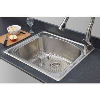 Wells Sinkware 18-gauge Single Bowl Topmount Stainless Steel Kitchen Sink Package