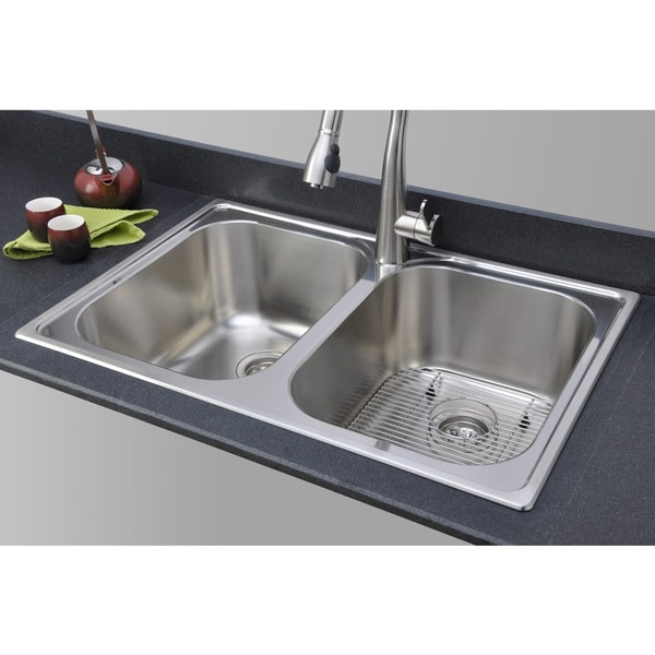 Wells Sinkware 18-gauge Double Bowl Topmount Stainless Steel Kitchen Sink Package GLT3322-99LG-1