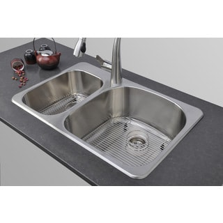... 31-inch Double Bowl Undermount Stainless Steel Kitchen Sink Package
