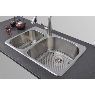 Wells Sinkware 18-gauge 31-inch Double Bowl Undermount Stainless Steel Kitchen Sink Package