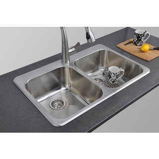 Wells Sinkware 32-inch Topmount 50/50 Double Bowl 18-gauge Stainless Steel Kitchen Sink Package