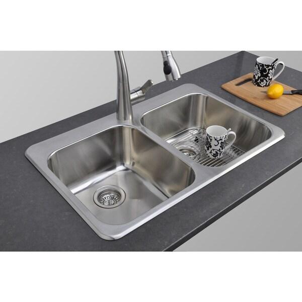 20 Inch Kitchen Sink : ... inch Topmount 50/ 50 Double Bowl 20-gauge Stainless Steel Kitchen Sink