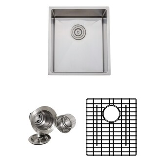 Wells Sinkware Commercial Grade 16-gauge 16.75-inch Handcrafted Single Bowl Undermount Stainless Steel Kitchen Sink Pack