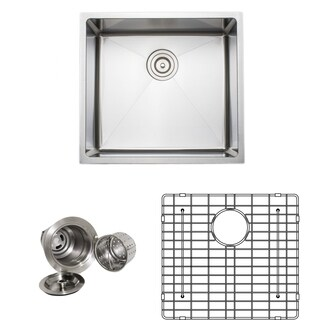 Wells Sinkware Commercial Grade 16-gauge 20-inch Handcrafted Single Bowl Undermount Stainless Steel Kitchen Sink Pack