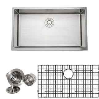 Wells Commercial Grade 16-gauge 33-inch Handcrafted Single Bowl Undermount Stainless Steel Kitchen Sink Pack