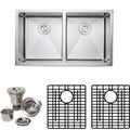 Wells Commercial Grade 16-gauge Handcrafted Double Bowl Undermount Stainless Steel Kitchen Sink Pack