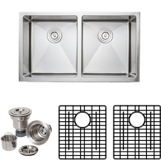 Wells Sinkware 33-inch Commercial Grade Undermount 50/50 Double Bowl 16-gauge Stainless Steel Kitchen Sink Pack