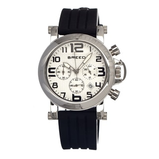 Breed Men's Racer White Silicone Black Analog Watch