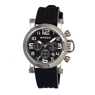 Breed Men's Racer Black Silicone Black Analog Watch