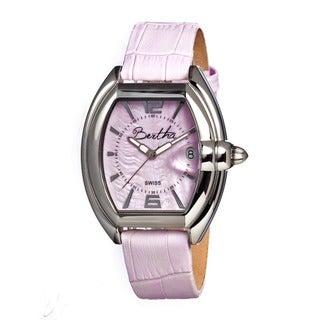 Bertha Women's Chloe Pink Leather Light Pink Analog Watch