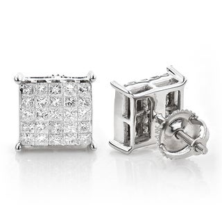 14k White Gold 1 1/6ct TDW Princess-cut Diamond Earrings (H-I, SI1-SI2)