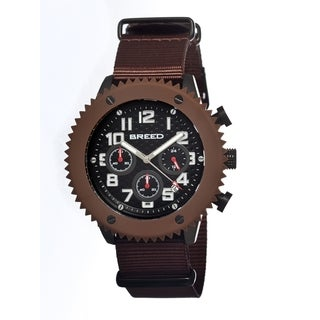 Breed Men's Decker Black Nylon Brown Analog Watch