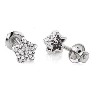 14k White Gold 1/6ct TDW Diamond Star Earrings (H-I, SI1-SI2)