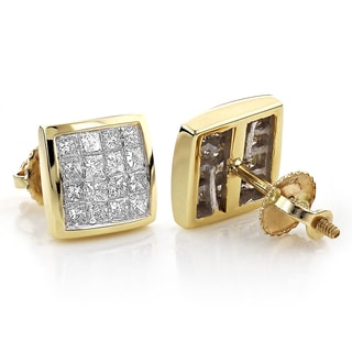 Luxurman 14k Yellow Gold 4/5ct TDW Princess-cut Diamond Square Earrings (G-H, VS1-VS2)