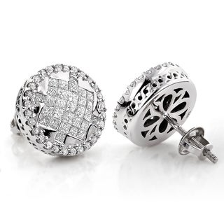 14k White Gold 1 2/5ct TDW Diamond Pave Stud Earrings (G-H, VS1-VS2)