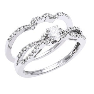Beverlly Hills Charm 14k White Gold 1/2ct TDW Bridal Ring Set (H-I, SI1-SI2)
