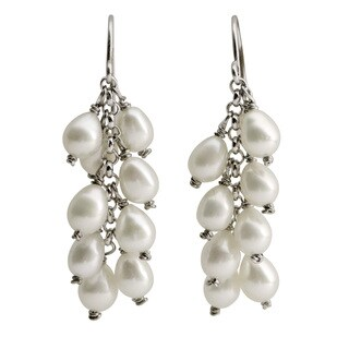Pearls For You Sterling Silver White Freshwater Drop Pearl Cluster Earrings (4-5 mm)