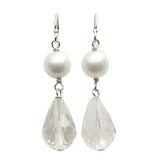 Pearls For You Sterling Silver Shell Pearl and Chinese Crystal Drop Earrings (8 mm)