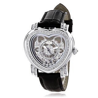 Luxurman Women's Diamond Heart Watch