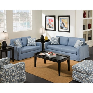 Annapolitan Blue Skirted Loveseat
