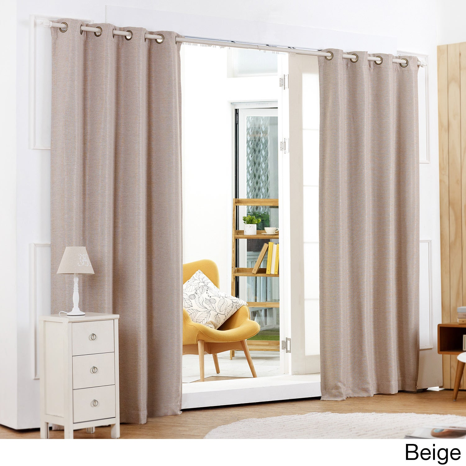 Lights Out Shimmery Basketweave Grommet Top Blackout 84-inch Curtain ...