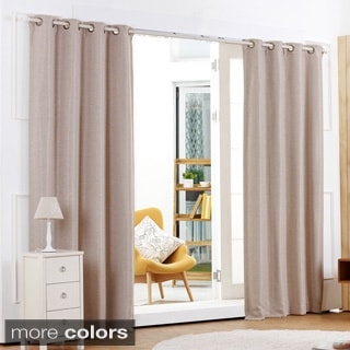 Shimmery Basketweave Grommet Top Blackout 84-inch Curtain Panel Pair