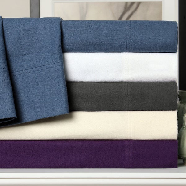 Luxor Treasures Solid Flannel Deep Pocket Cotton Sheet Set