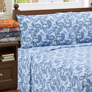 Luxor Treasures Paisley Cotton Deep Pocket Flannel Sheet Set