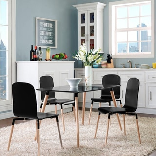 Stack Wood 5-piece Dining Chairs and Table Set