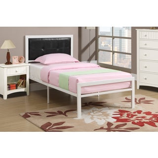 Contemporary Twin-size Black/ White Metal Platform Bed