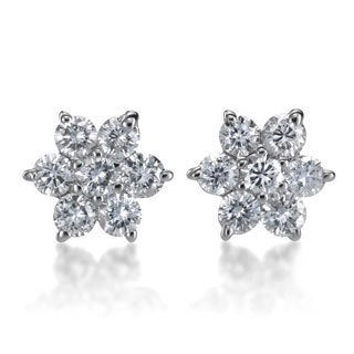 SummerRose 14k White Gold 1/2ct TDW Diamond Flower Stud Earrings (G-H SI)