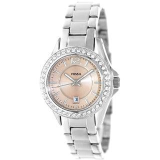 Fossil Women's ES3378 Riley Glitz Bezel Pink Dial Watch