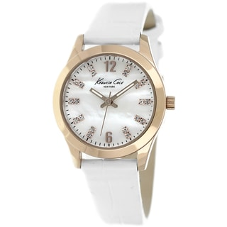 Kenneth Cole Women's 'New York' KCW2010 White Leather Watch