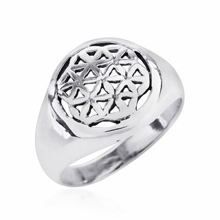 Linked Lilies Flower of Life .925 Sterling Silver Ring (Thailand)
